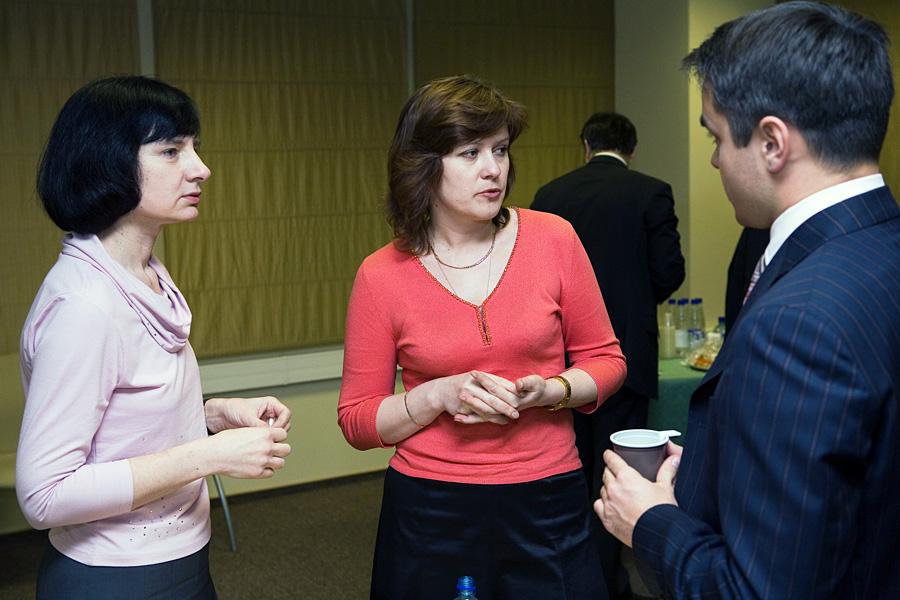 Анна Гришмановская, Татьяна Графова, Дмитрий Воробьев, члены учредительного собрания Внешторгклуба